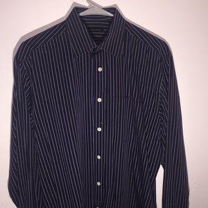 Valentino Dress Shirt Navy w/ blue & gray stripes